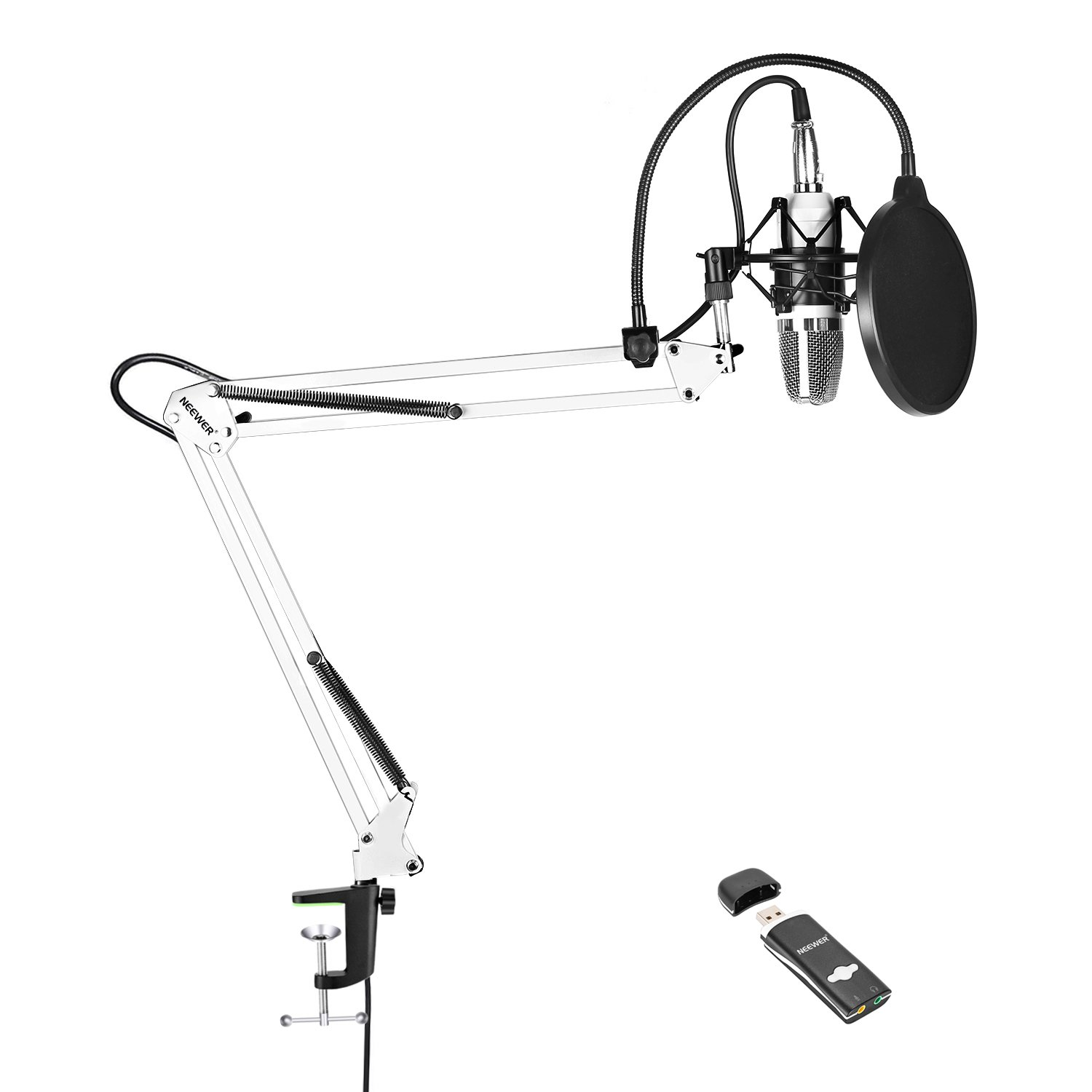 Neewer NW-700 Pro PC Microphone Kit with USB Sound Card Adapter, Shock Mount, Mic Suspension Scissor Arm Stand(White), Pop Filter for Computer Studio Recording Broadcast for YouTube Live Periscope by Neewer