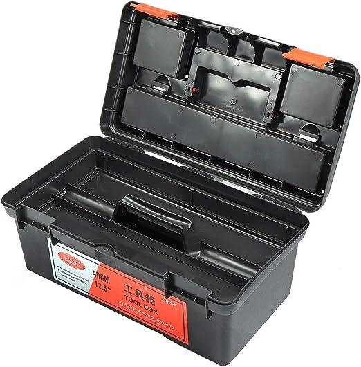 Caja de herramientas Herramientas de trabajo de 16 pulgadas Caja de almacenamiento Organizador Manija Bandeja Soporte Caja de herramientas de plástico Contenedor protable 2 capas Caja de herramientas: Amazon.es: Hogar