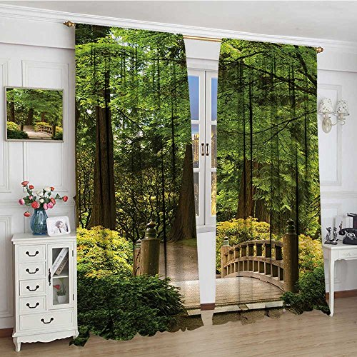 smallbeefly Japanese Room Darkening Wide Curtains Wooden Bridge over Pond in Garden Calmness in Shadow of Trees Serenity in Nature Drapes For Living Room 108