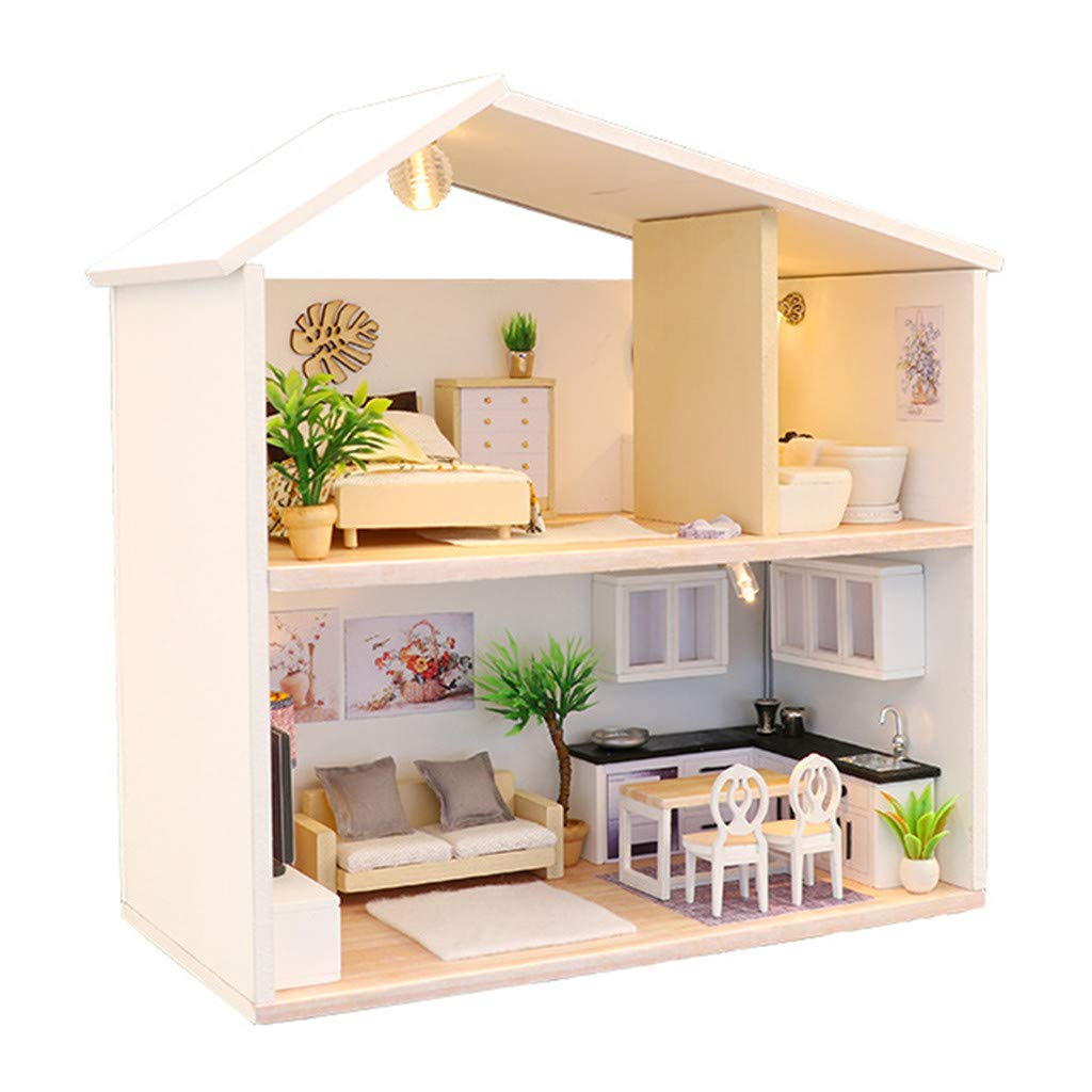 Wenini DIY Wooden House Kit - 3D Wooden DIY Miniature House - Furniture Kit LED House Puzzle Decorate Creative for Kids Christmas Birthday Gift (Wooden Villa)