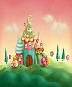 Zomike Poster Wall Art Fantasy Houses Cupcakes Candy Land Tale Fairy House Castle Prints Artwork Unframed Modern Home Decor for Living Dining Dorms Office 18 X 24 Inches