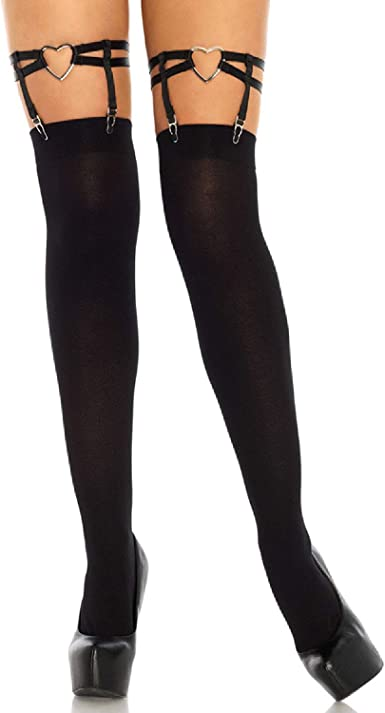 Blackheart Black Lace-Up Thigh Highs