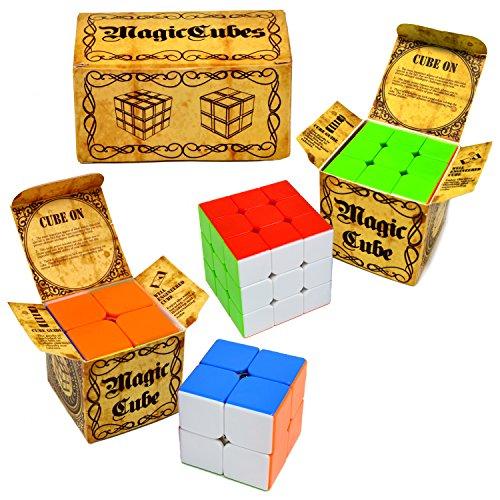 Speed Cube, 2 pack Magic Rubix Cube 3x3 & 2x2; Puzzle Cube,