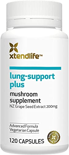 Xtend-Life Lung-Support Plus Organic Supplement, 4 Medicinal Mushrooms Grape Seed Extract, 120 Vegetarian Capsules