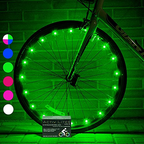 Super Cool LED Wheel Lights (2 Tires, Green) Fun Bicycle Spoke Wire & Bike Frame Safety String Lights - Best Wheelchair & Top Baby Stroller Accessory for Men, Women, Children and Popular Teens
