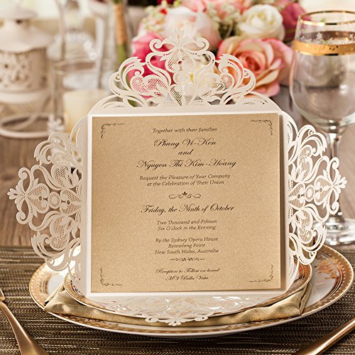 WISHMADE Square Laser Cut Wedding Invitations Cards 50 Count Ivory Lace Flower Pattern Invites Card for Qinceanera Engagement Birthday Bridal Shower Baby Shower Graduation Party (Set of 50pcs)