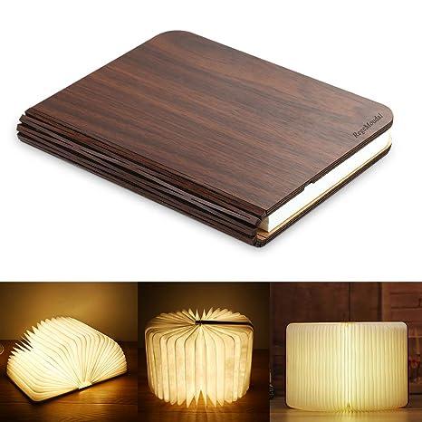RegeMoudal Libro Luz LED Lámpara Forma de Libro Plegable Recargable USB Book Lamp con Batería de Litio 2500mAh Magnético Papel DuPont Lámpara Libro ...
