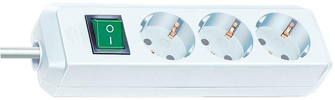 Brennenstuhl Eco-Line - Regleta de 3 enchufes con interruptor (3 m), color blanco: Amazon.es: Informática