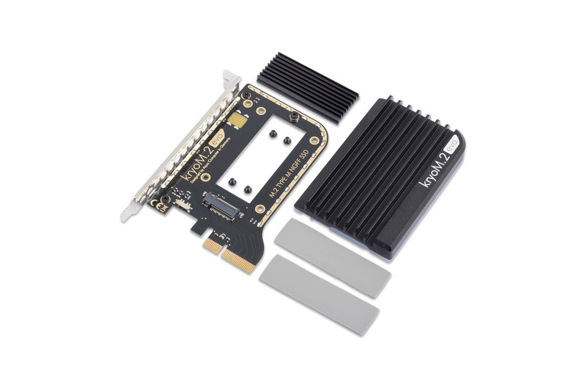 Aquacomputer kryoM.2 evo PCIe 3.0 x4 adapter for M.2 NGFF PCIe SSD, M-Key with passive heatsink by Aquacomputer (Image #1)