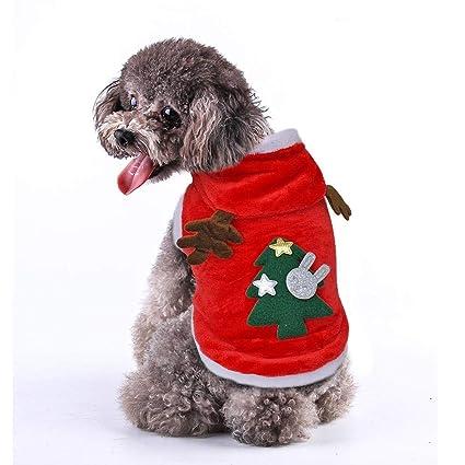 Sweatshirts f/ür Kleine Hunde Welpen Katzen leegoal Hundekost/üm Elch Santa mit Kapuze S