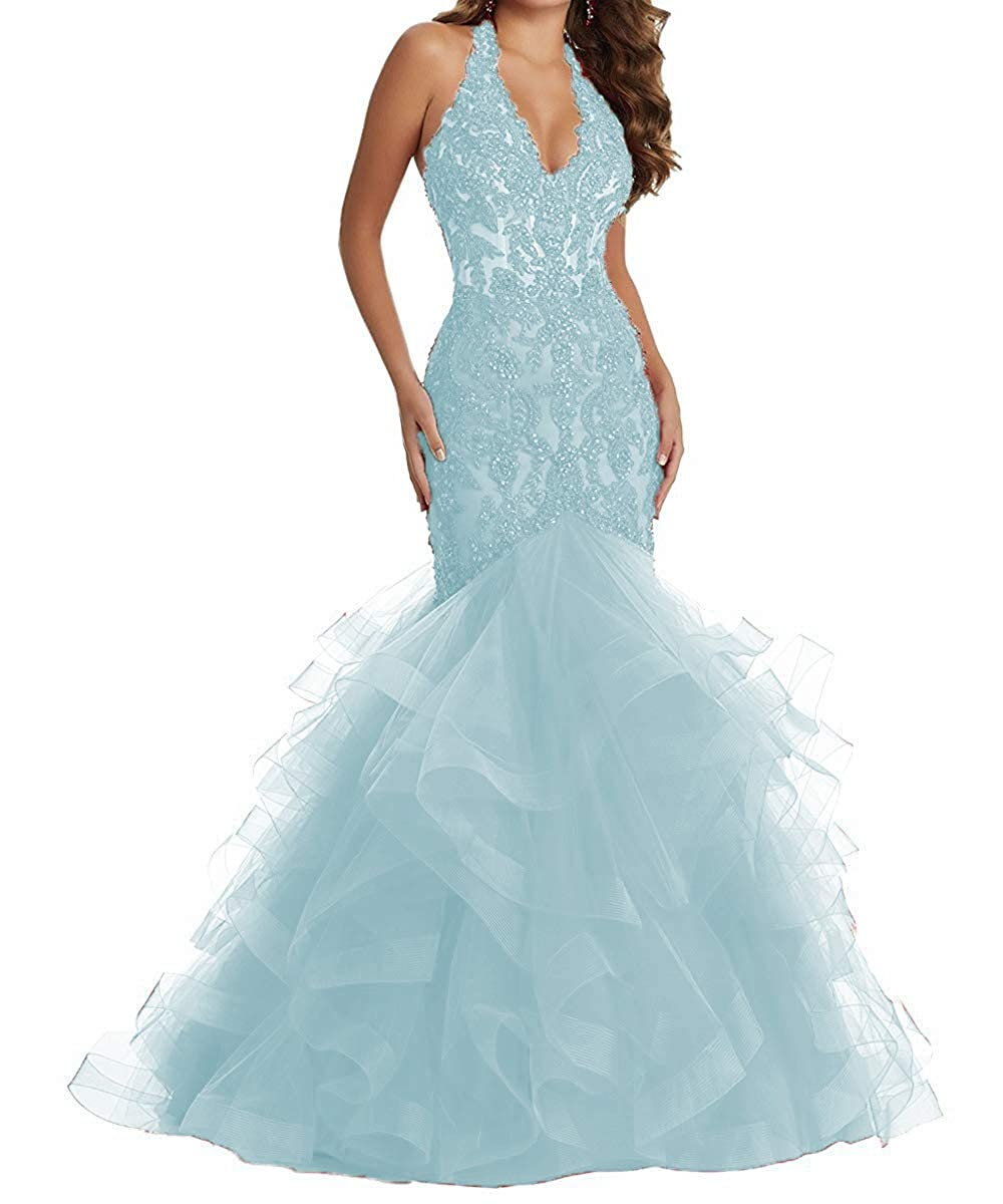 Light bluee YMSHA Women's Long Halter Lace Beads Formal Prom Dress Long Mermaid V Neck Evening Party Gown 17PM