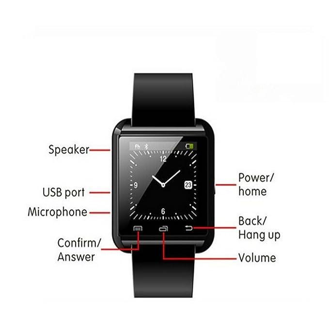 U8 Blutooth Smartwatch para Android Sistema teléfonos móviles y Limitada Funciones para ISO teléfonos (Negro)