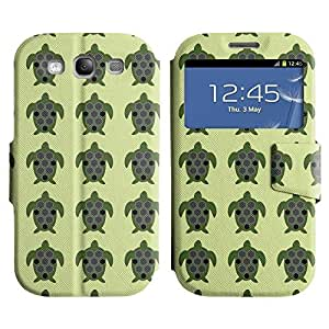 Be-Star Colorful Printed Design Slim PU Leather View Window Stand Flip Cover Case For Samsung Galaxy S3 III / i9300 / i717 ( Green Turtle ) Kimberly Kurzendoerfer