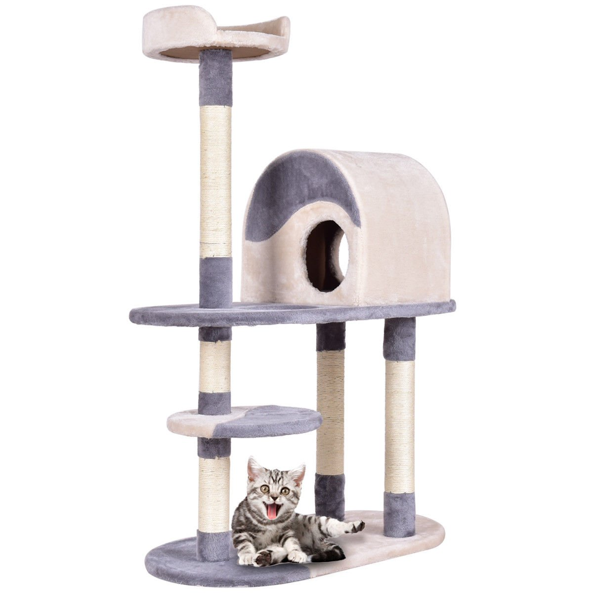 TANGKULA 48'' Cat Tree Cat Tower with Perches Scratching Posts Kitten Activity Tower Condo (Beige+Gray)