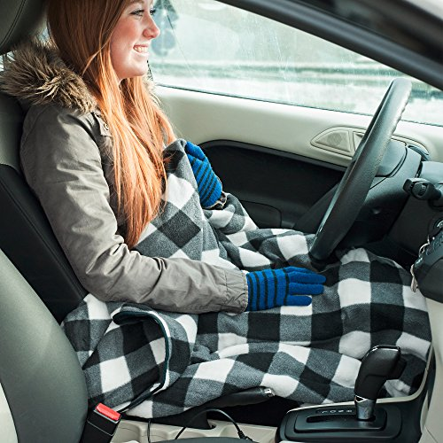 51Qg8DdxL%2BL Electric Car Blanket- Heated 12 Volt Fleece Travel Throw for Car and RV-Great for Cold Weather, Tailgating, and Emergency Kits by Stalwart-BLACK/WHITE