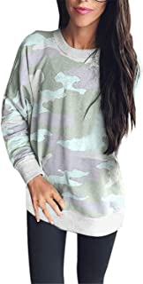 ZahuihuiM Mode féminine Loose Camouflage Pull Casual Top T Shirt Printemps À Manches Longues Nouveau Sweat Top Blouse