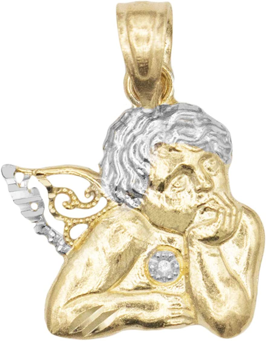 14k White And Yellow Gold CZ Angel Pendant Charm