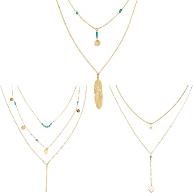3 Layers gold Chain Coin Chain boho vertical bar Pendant Necklaces