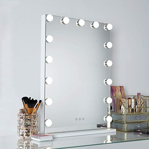WAYKING Makeup Mirror with Lights, Hollywood Vanity Mirror with Touch Screen Dimmer, USB Charging Port, 3 Color Lighting Modes, White L18.9 X H22.8 inch White-2nd Generation
