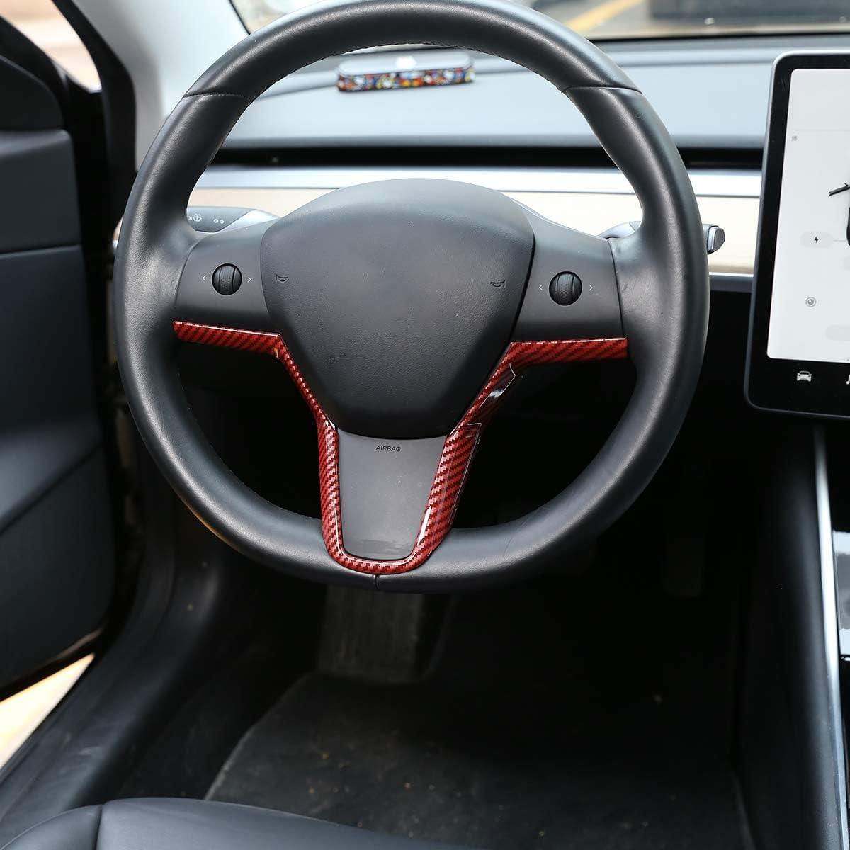 for Tesla Model 3 Steering Wheel Sequins Interior Modification Steering Wheel V-Decorative Sequins Carbon Fiber