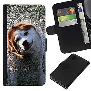 LG Nexus 5 D820 D821 - Dibujo PU billetera de cuero Funda Case Caso de la piel de la bolsa protectora Para (Cool Wet Dog)