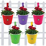 Trust basket Plain Round Railing Planters (Green, Yellow, Magenta, Red, Purple) - Set of 5