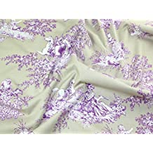 Gutermann Ring a Roses French Cottage Toile Poplin Quilting Fabric Lilac & Taupe - per fat quarter