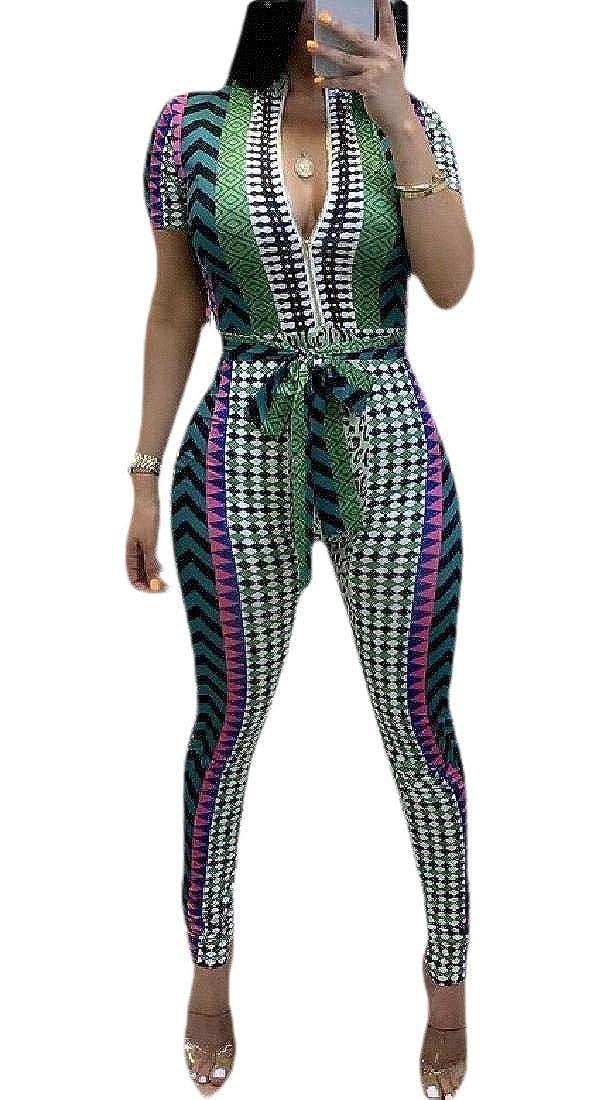 Jmwss QD Women V Neck Short Sleeve Floral Bodycon Jumpsuit Romper Pants