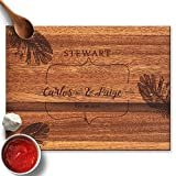 Froolu Tropical Leaves Personalised Cutting Board Wedding Couples Gift Deal (Small Image)