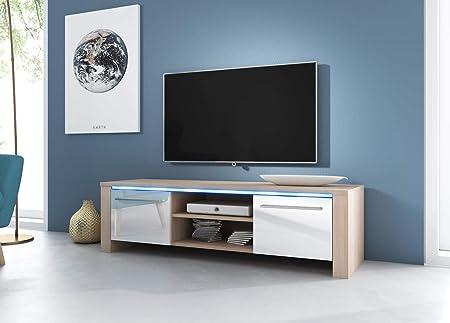 VIVALDI Mueble para TV - MANHATTAN - 140 cm - en Color Roble Claro Sonoma con iluminación LED Azul - Estilo Design: Amazon.es: Hogar