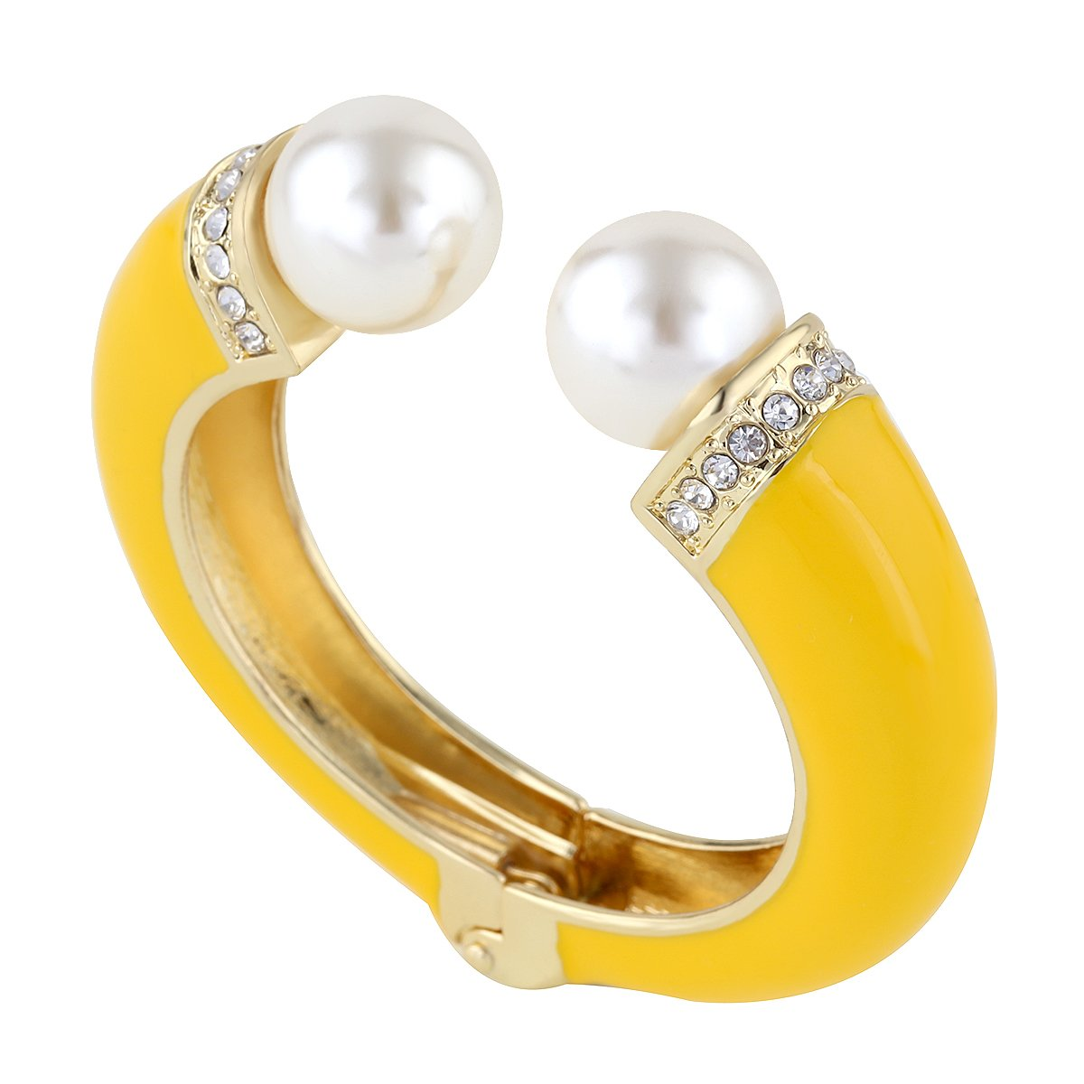 Golden Enamel Bangle Bracelets Inlay Pearls and Rhinestone For Prom, Party, Office Diameter 2.28 Inch