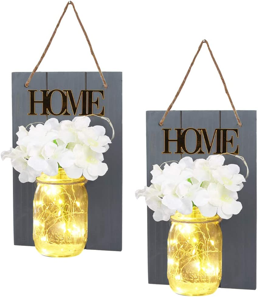 Mason Jar Lights Wall Decor, Rustic Wall Sconces with Fairy Lights & Silk Hydrangea-Rustic Home Decor for Hanging Decoration (Gray)