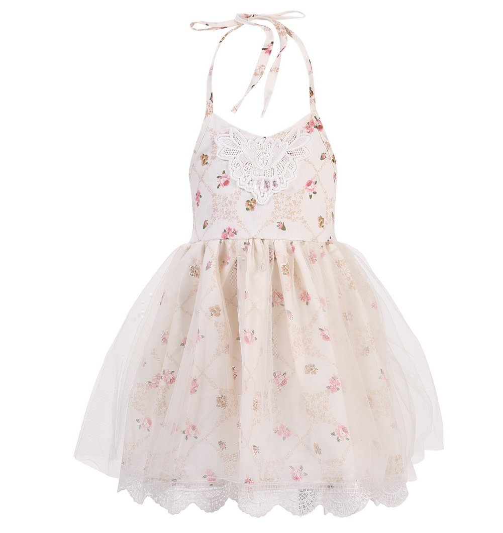 Merry Day Halter Backless Dress for Girls - Floral Strap Sundress with White Tulle Lace, 6M-8T, XL(4-5Y), Cream