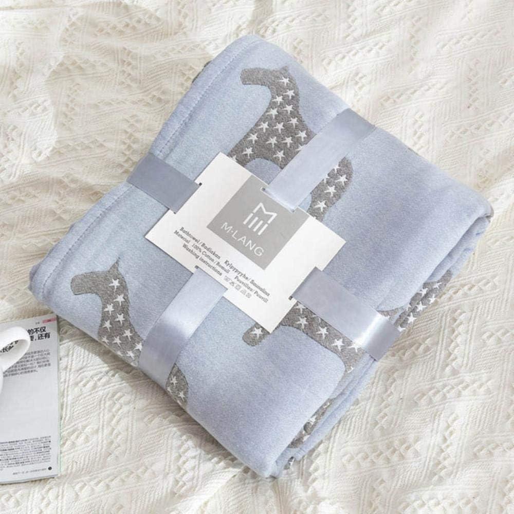 LASISZ Manta de Tiro de Muselina de Gasa de algodón de 6 Capas para sofá Cama Colcha de Verano con Aire Acondicionado para niños Adultos, Caballo Azul, 200x230cm