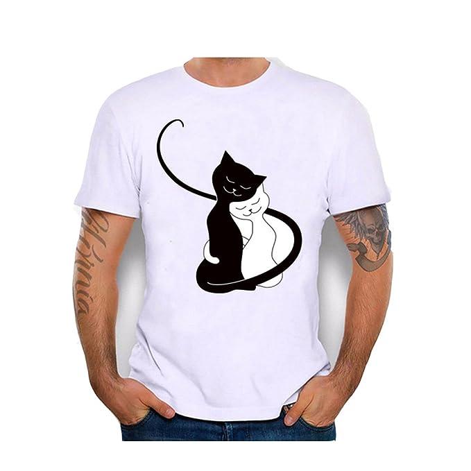 Vovotrade O-Cuello Blanco Negro de Dibujos Animados Amante de los Gatos Hombres de Las