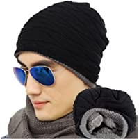 ULTNICE Men's Soft Lined Thick Knit Skull Cap Warm Winter Slouchy Beanies Hat (Wollen Navy Black)