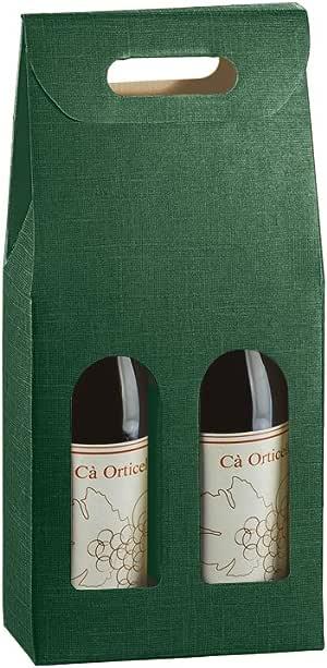 Caja de regalo para 2 botellas de vino verde | Envoltorio de regalo | Bolsas de botella y cajas: Amazon.es: Hogar