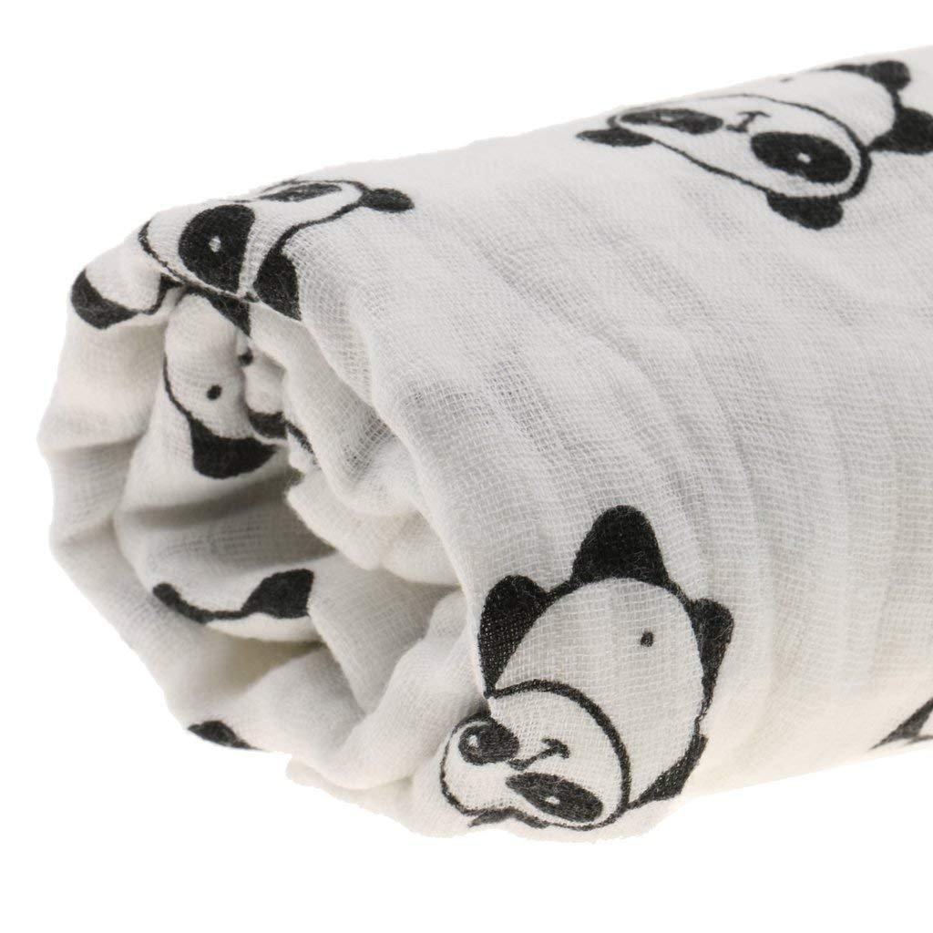 Panda Nrpfell Lange Coton Nouveau-ne Couverture dEmmaillotage Sac de Couchage 110cm x 110cm