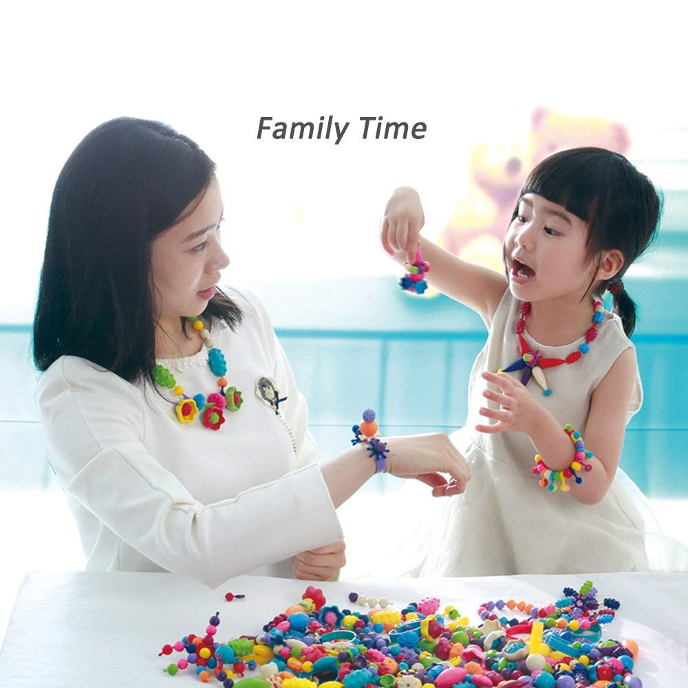 WTOR Pop-Arty Beads 500Pcs Snap-Together Kid DIY Bead Toys made Jewelry Necklaces//Bracelets//Rings//Crafts as Birthday//Christmas Gift,Encourages Children Creations and Fashion