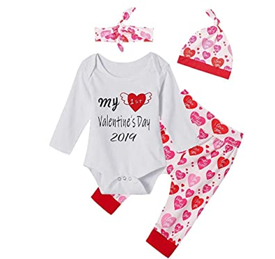 "UK Infant Baby Girls Toddler /""Love/"" Valentine/'s Day 2 Pcs Jumpsuit Romper Outfit"