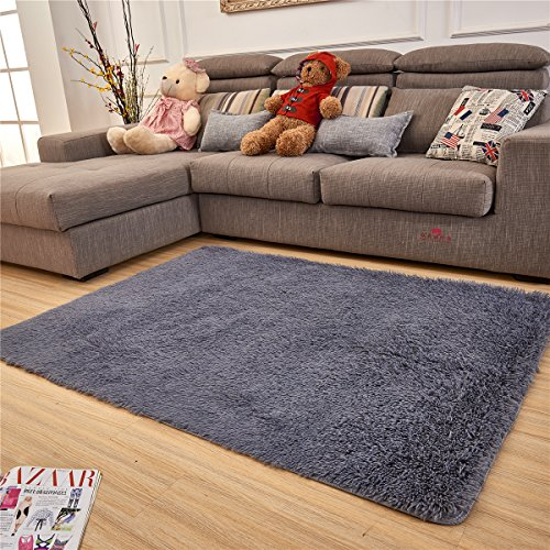 Adasmile Super Comfortable Thin Indoor Modern Shaggy Area Rugs/Floor Mat/Cover Carpets with Small Amount of Memory Foam for Living Room/bedroom/Nursery/Teens/Home (Matt Silver Polyester)