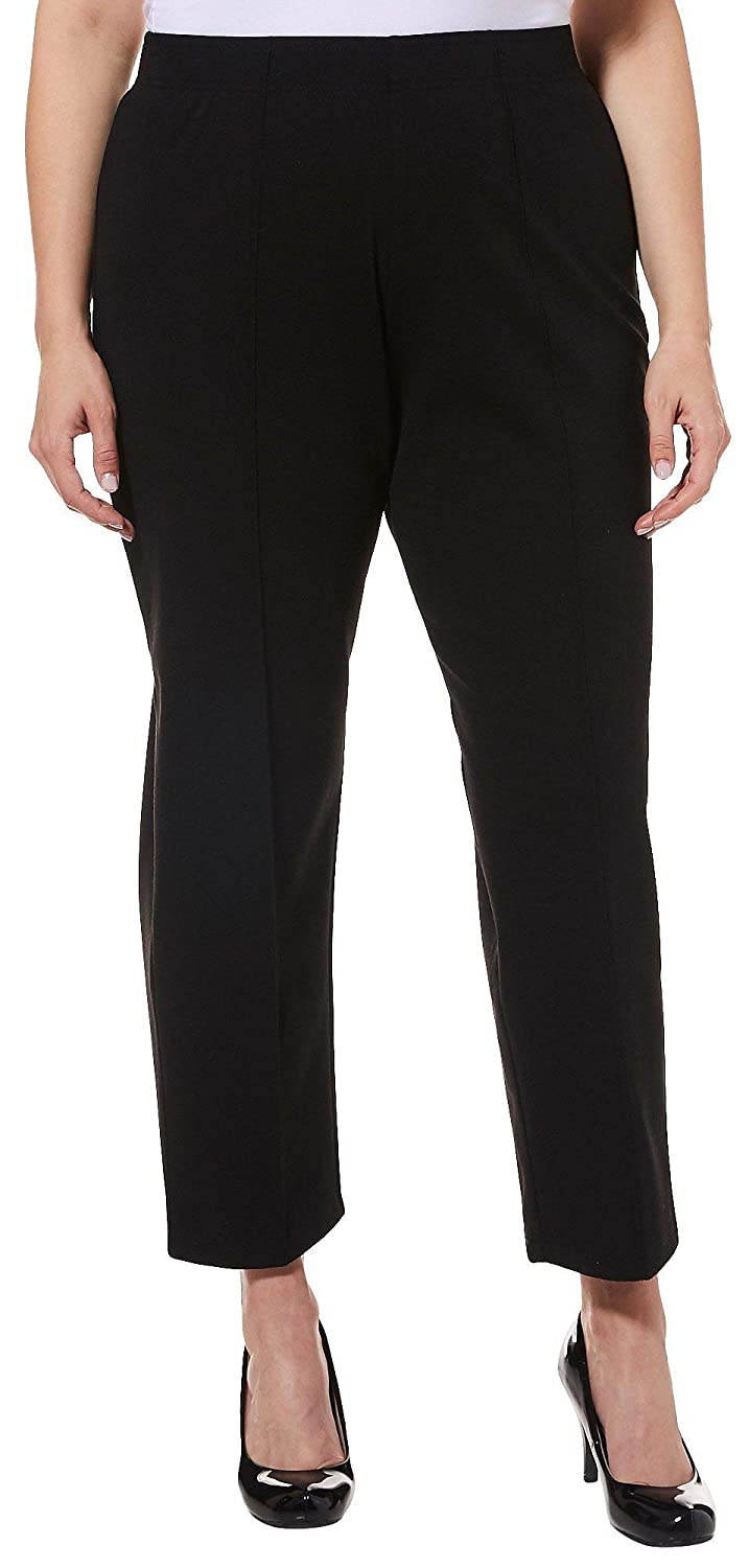 76aecc576b0 Cathy Daniels Plus Pull-On Stitched Crease Stretch Pants 2X Black at Amazon  Women s Clothing store