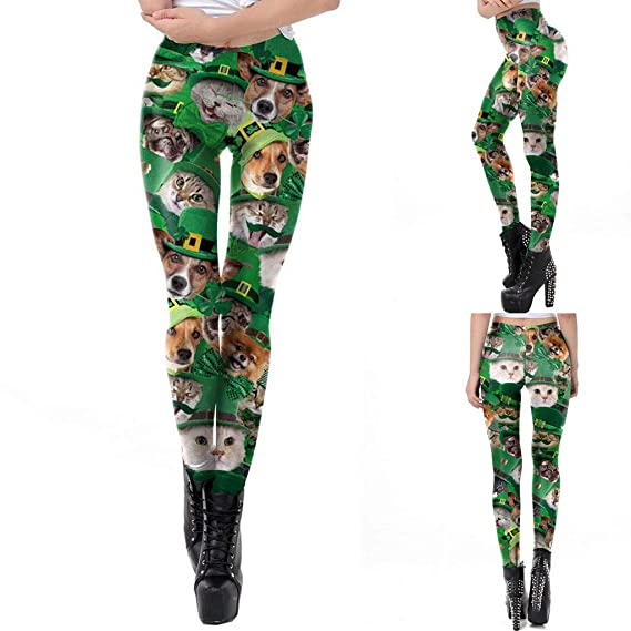 798c2bcbc17ff St Patricks Day Womens Pencil Pants Leggings Irish Shamrock Animal Print  Skinny Bodycon High Waist Trousers at Amazon Women's Clothing store:
