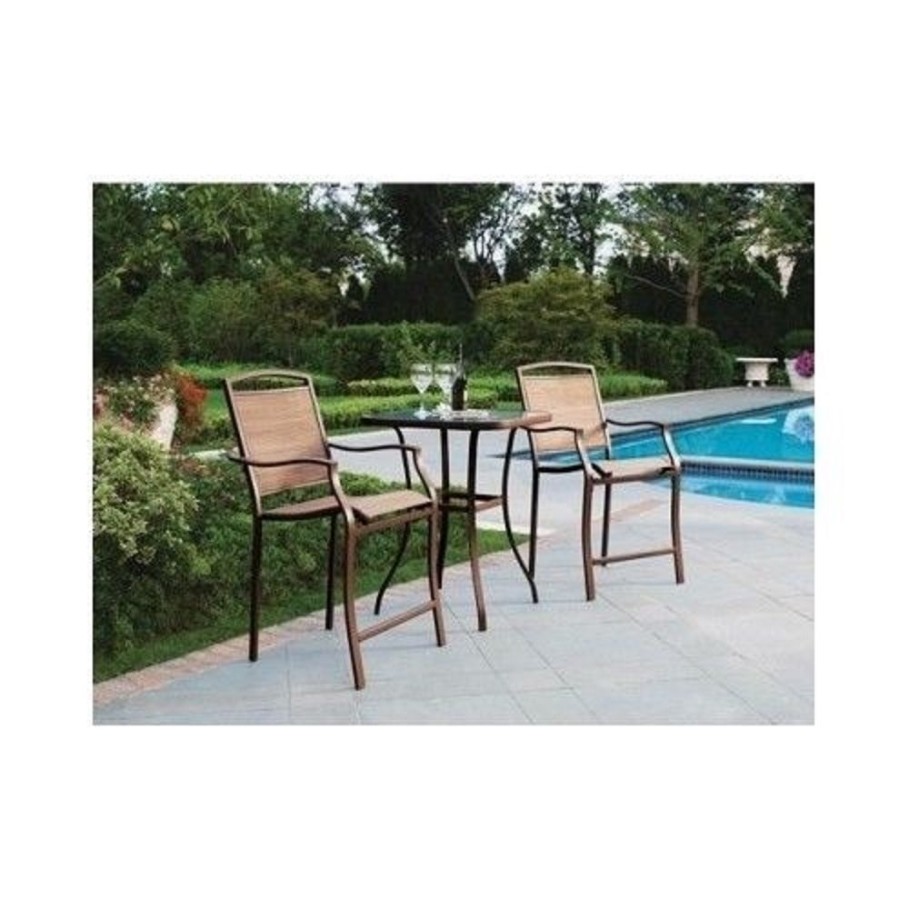 Amazon.com: 3 Piece Bar Height Bistro Table Chair Set Patio Furniture  Outdoor New Deck Backyard: Garden U0026 Outdoor