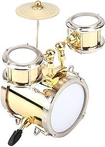 Hilitand Miniature Musical Instrument Replica Drum Set Ornament Drummer Gift Children's Three Drum Model Decoration