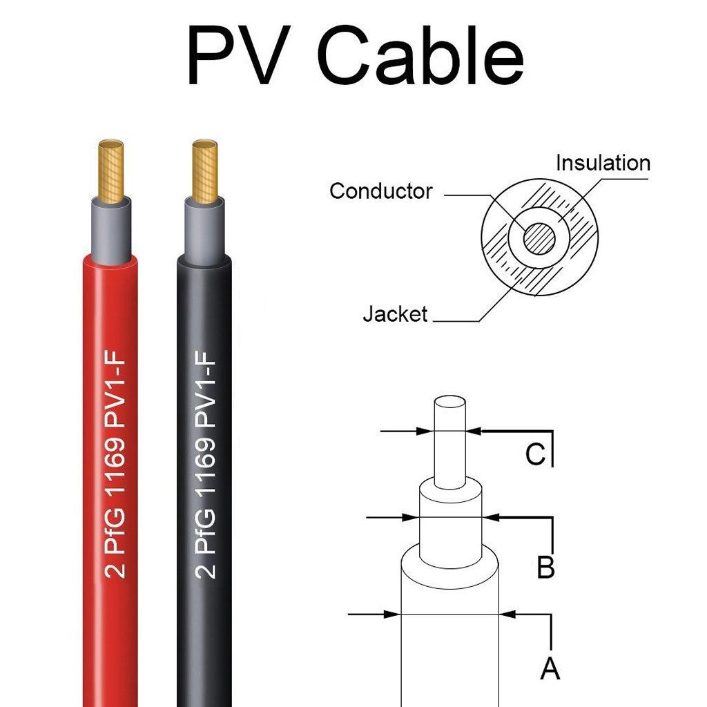 Sumnacon 2 C/âbles d/'Extension photovolta/ïques Noir+Rouge MC4 Connecteurs IP67,10AWG pour Photovolta/ïque Panneau Solaire etc. 10ft 3M // c/âble PV1-F 6,0mm/²
