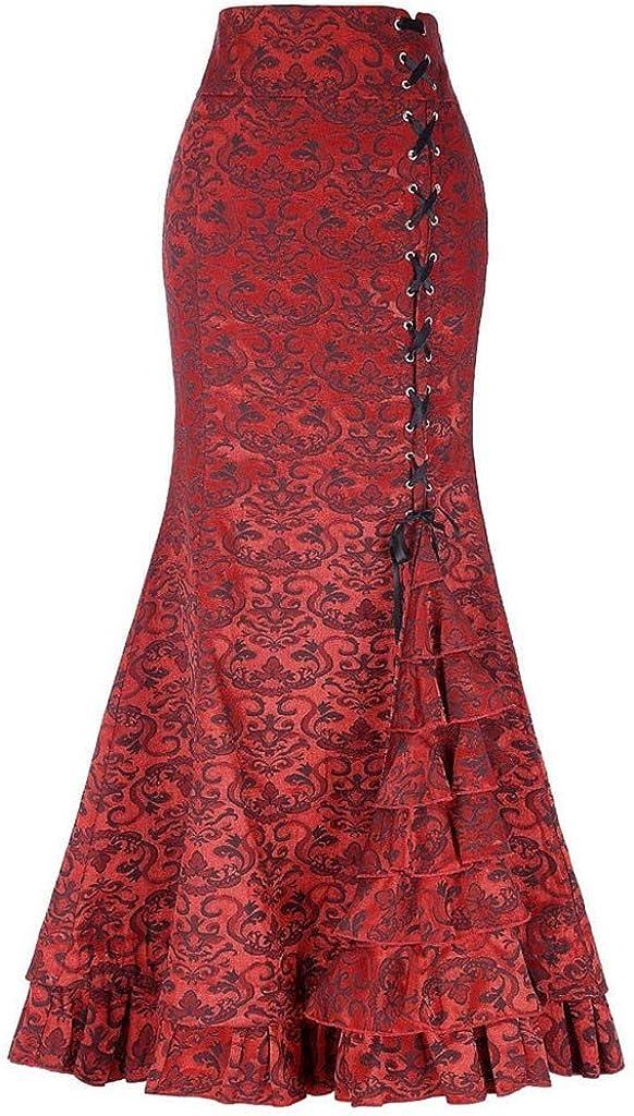 LUCKYCAT Falda de Sirena Retro Estilo Punk para Mujer Falda de Cola de Pescado con Volante de Bodycon Largo Vintage