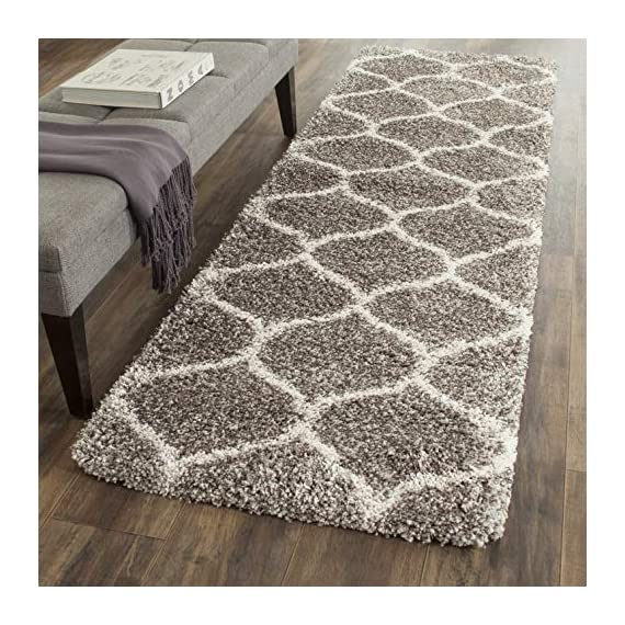 "Safavieh Hudson Shag Collection SGH280B Moroccan Ogee Plush Runner, 2' 3"" x 8', Grey/Ivory - Safavieh's Hudson Shag Ogee Trellis Rug with 2,000+ customer reviews Contemporary visually intriguing Moroccan inspired geometric pattern for a designer look in any room Luxurious and plush, the Hudson shag rug promotes an incredibly soft feeling underfoot - runner-rugs, entryway-furniture-decor, entryway-laundry-room - 611ZeC7rDUL. SS570  -"