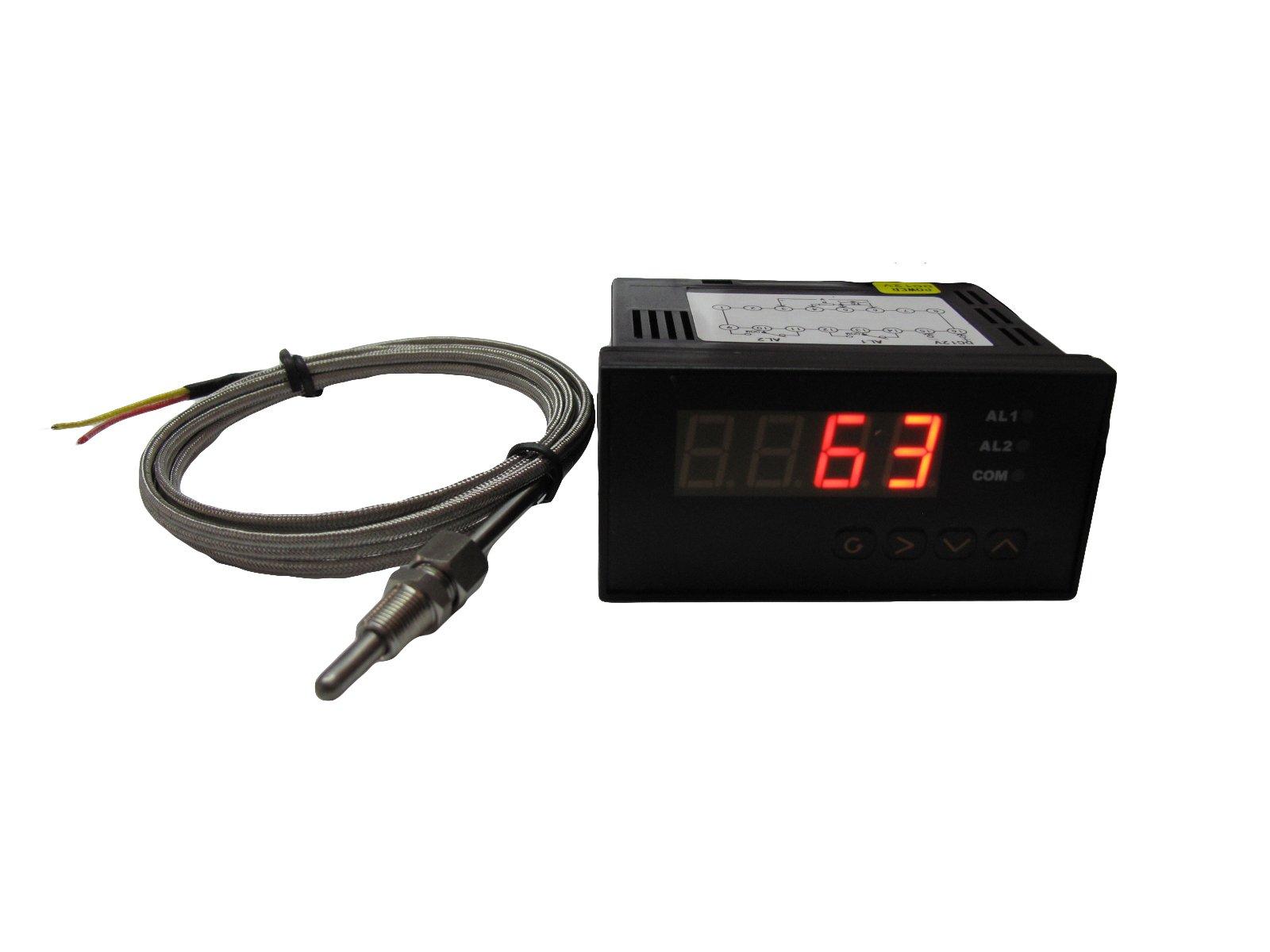 Digital EGT Gauge with 2 Alarm Outputs and K Type EGT Sensors Combo Kit (℉ / 12V)