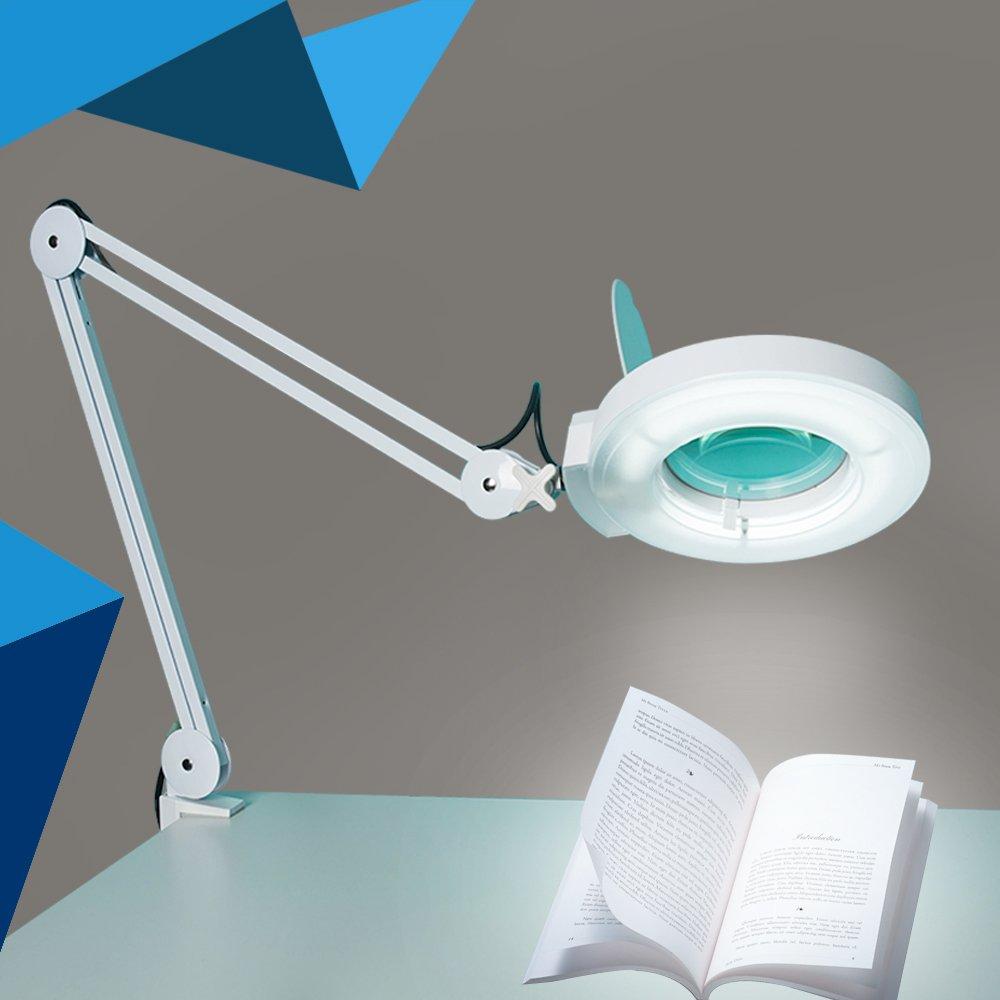 Concise Home LAMPE LOUPE de Table Esth/étique 5 Dioptries Grossissement avec Eclairage Tube N/éon Daylight Fluorescent